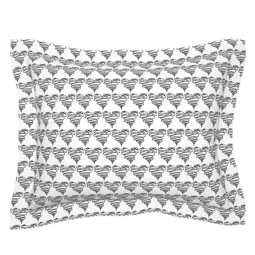 Sebright Pillow Sham featuring Black Squiggle Heart - Little by designergal