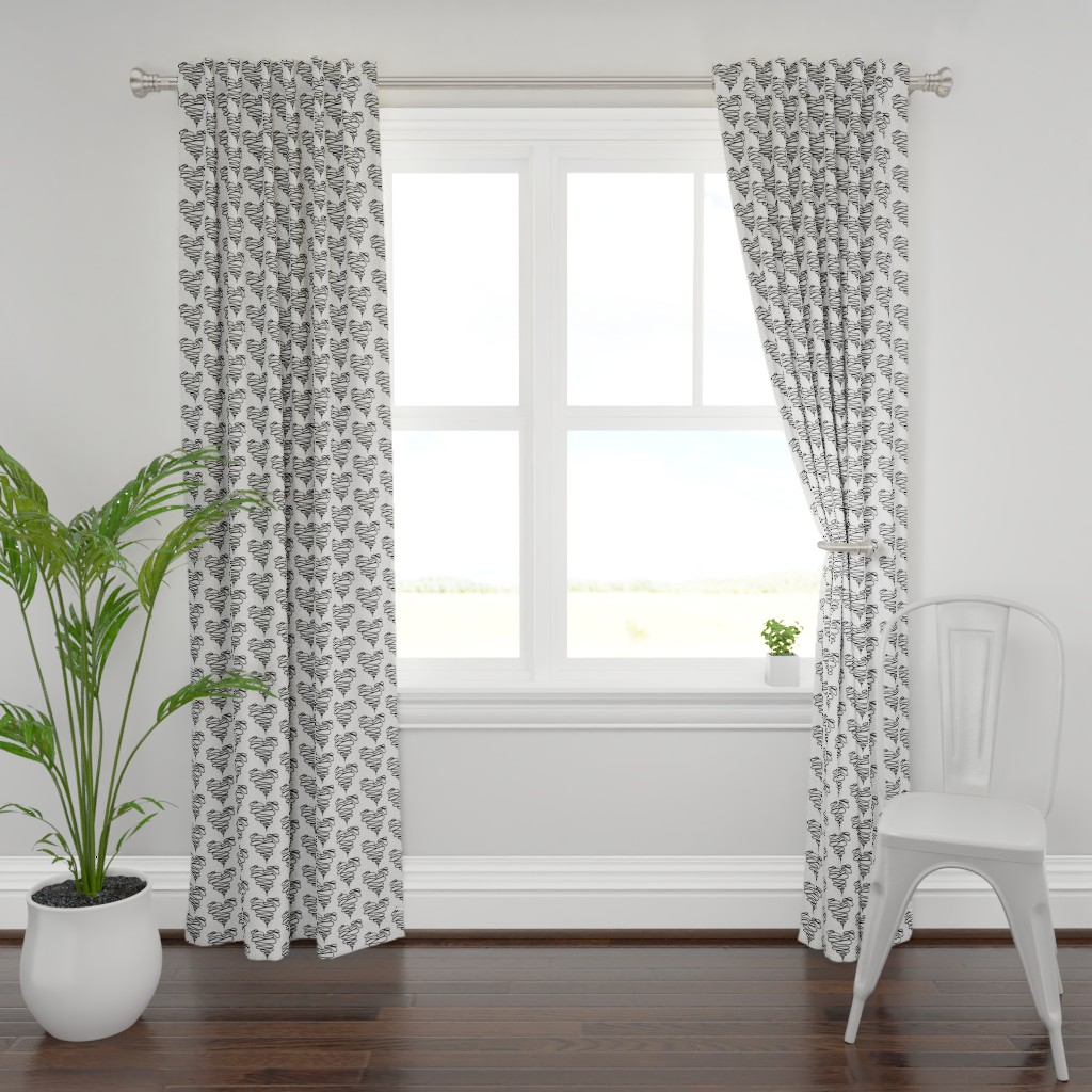 Plymouth Curtain Panel featuring Black Squiggle Heart by designergal