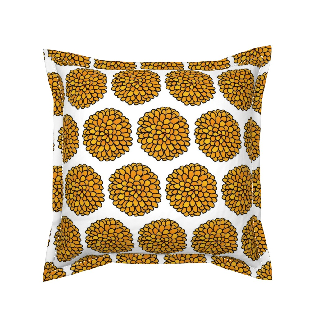 Serama Throw Pillow featuring Marigold by designergal