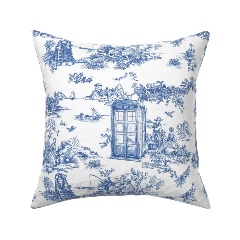 Catalan Throw Pillow featuring Toile de Jouy blue police boxes by debi_birkin