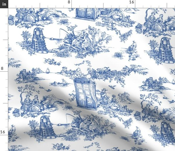 Fabric By The Yard Toile De Jouy Blue Police Bo