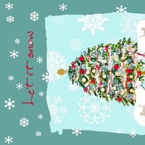 Let it Snow tea towel
