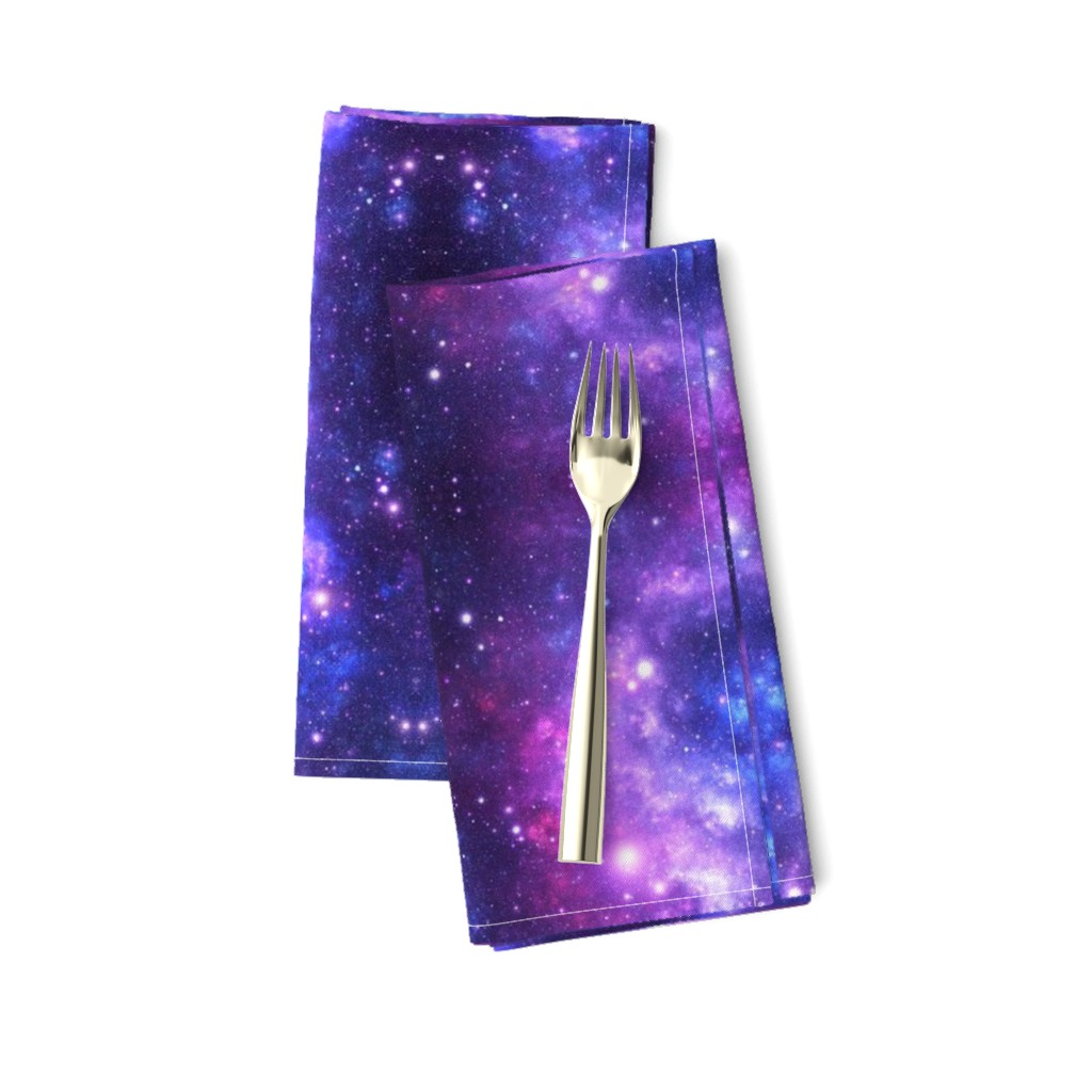 Amarela Dinner Napkins featuring Purple Space Stars (small print) by inspirationz
