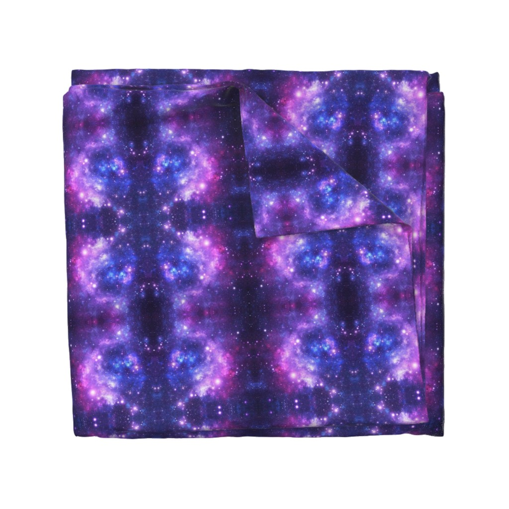 Wyandotte Duvet Cover featuring Purple Space Stars by inspirationz