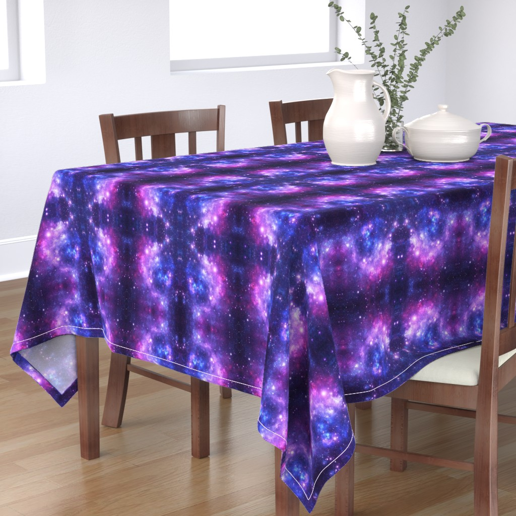Bantam Rectangular Tablecloth featuring Purple Space Stars (small print) by inspirationz