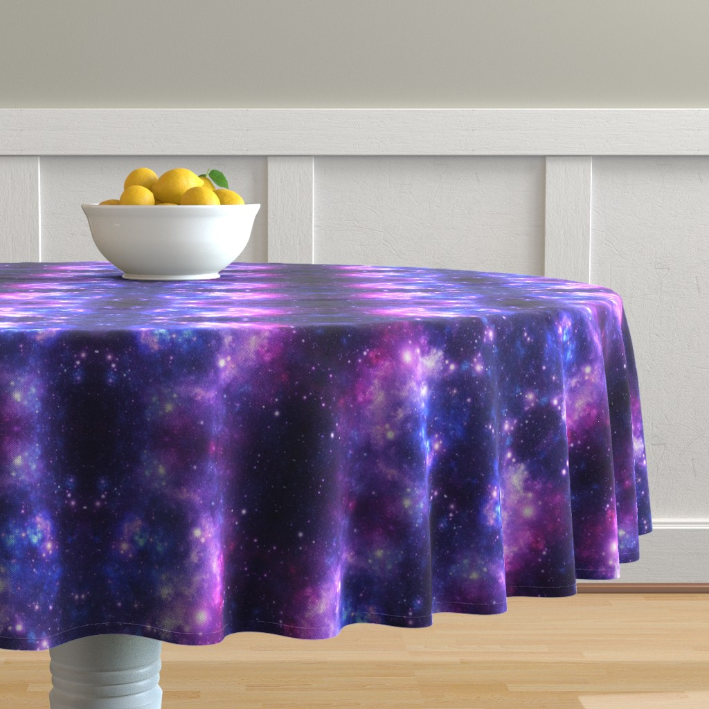 Malay Round Tablecloth featuring Purple Space Stars (small print) by inspirationz