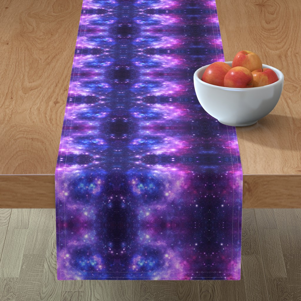 Minorca Table Runner featuring Purple Space Stars by inspirationz