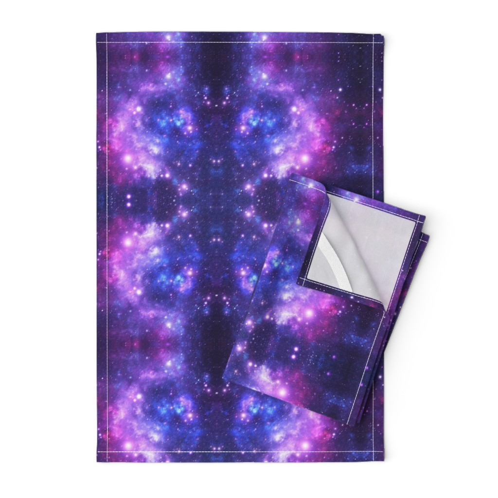 Orpington Tea Towels featuring Purple Space Stars (small print) by inspirationz