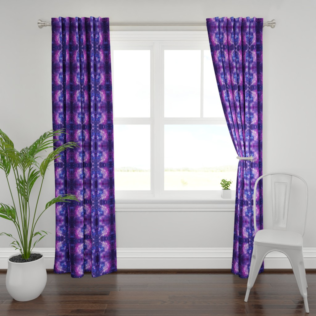 Plymouth Curtain Panel featuring Purple Space Stars by inspirationz