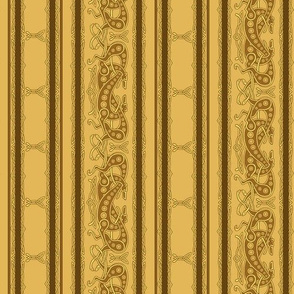 Celtic Knot Greyhounds, gold and brown stripes