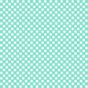 Polka Dots mint x white