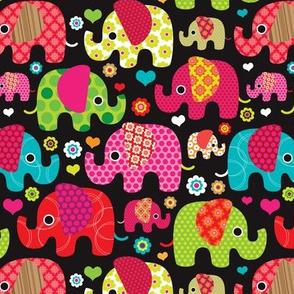 Colorful indian elephant parade