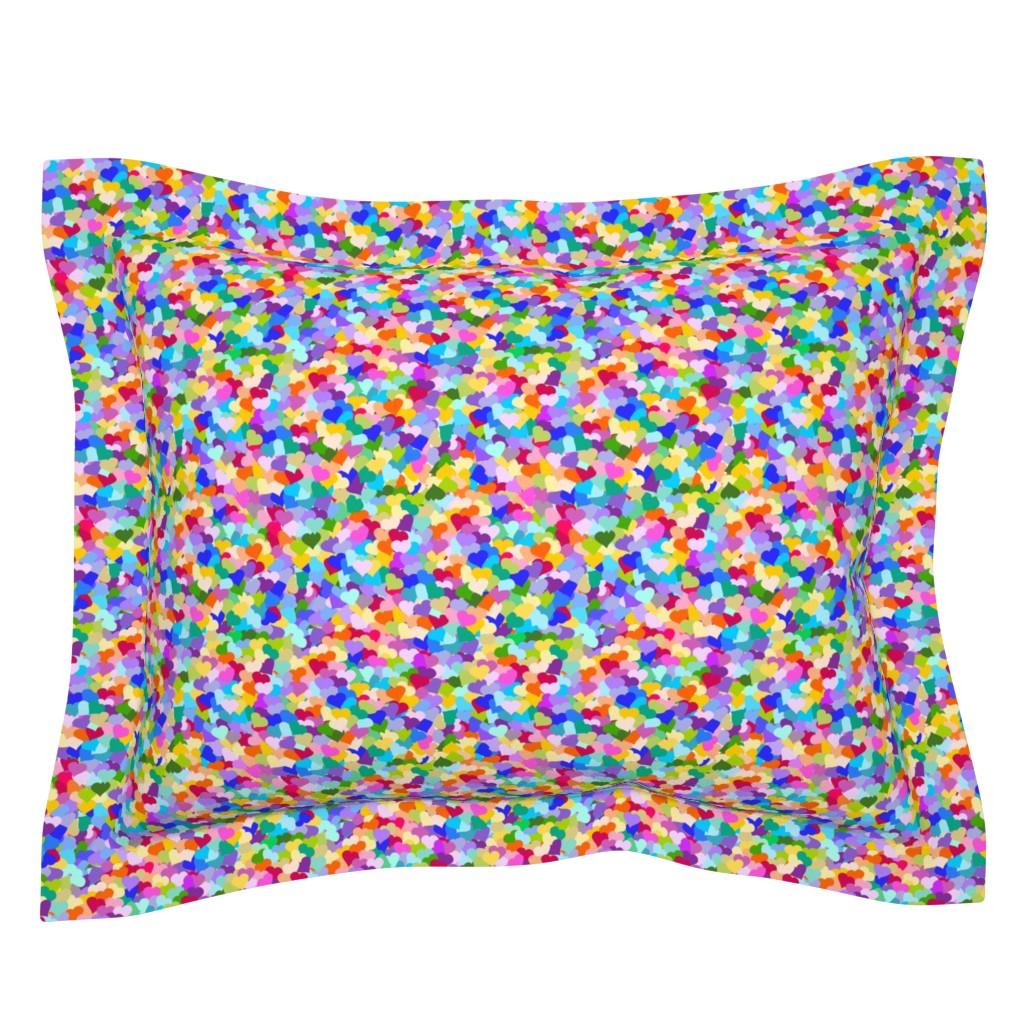 Sebright Pillow Sham featuring Rainbow Confetti Hearts by inspirationz