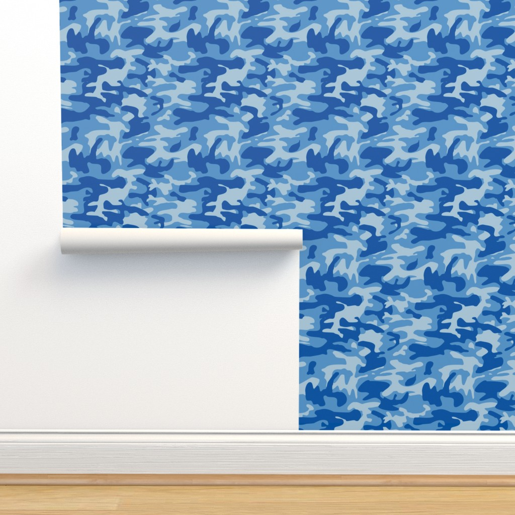 Isobar Durable Wallpaper featuring Blue camo army print by inspirationz