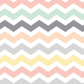 Pastel Chevron : mint grey, peach, yellow & coral pink