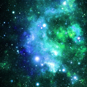 Blue Green Space Stars (large print)