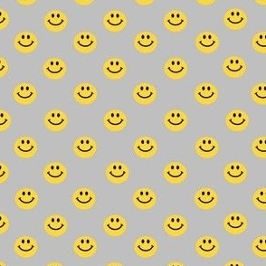 Yellow Happy Face Smiley Polka dot pattern on Grey
