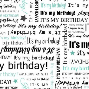 It's my Birthday typography text pattern - Black & Mint