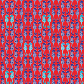 Seahorses Red Blue Turquoise