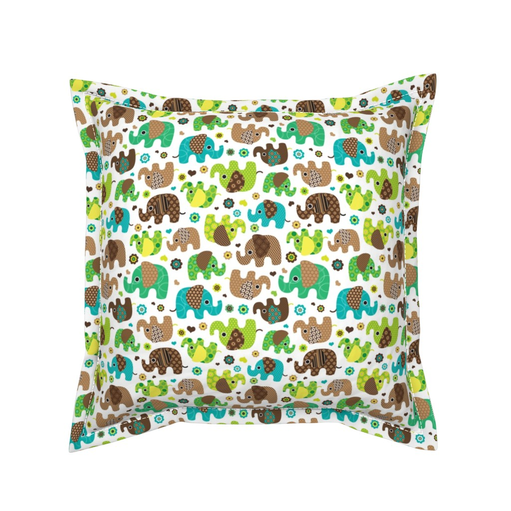 Serama Throw Pillow featuring Cute retro kids elephant pattern fabric by littlesmilemakers