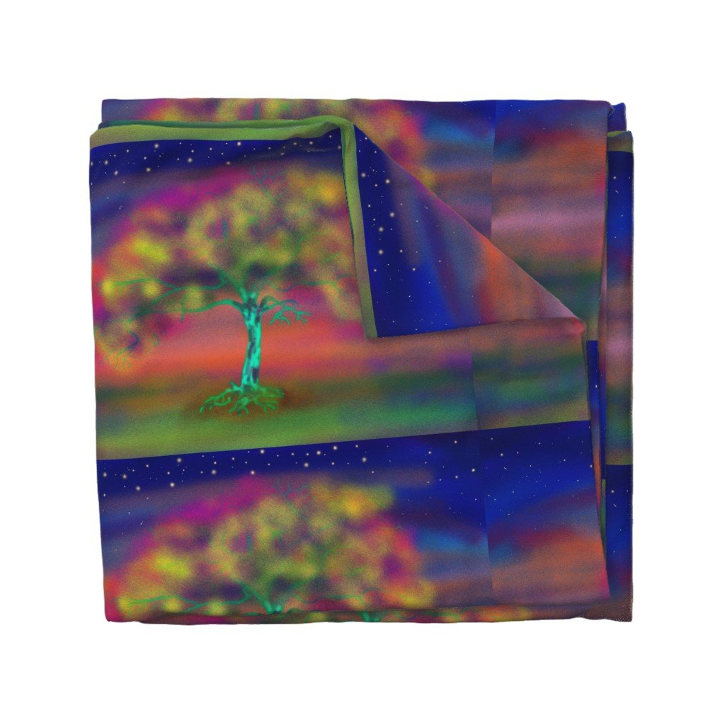 Wyandotte Duvet Cover featuring TREE LUMINESCENT COLOURS LARGE Pillow by paysmage