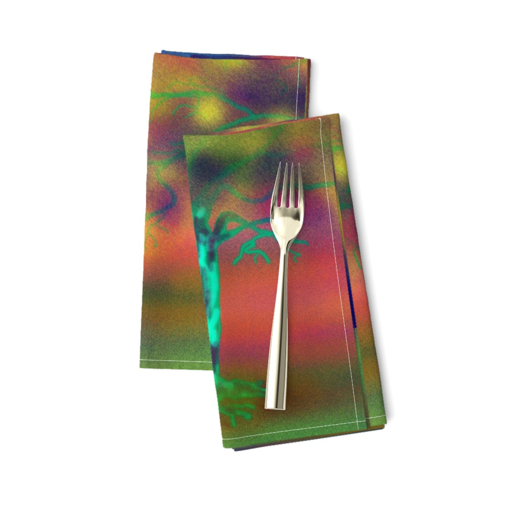 Amarela Dinner Napkins featuring TREE LUMINESCENT COLOURS LARGE Pillow by paysmage