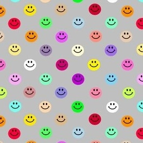 Grey Rainbow Happy Face Smiley Polka dot pattern
