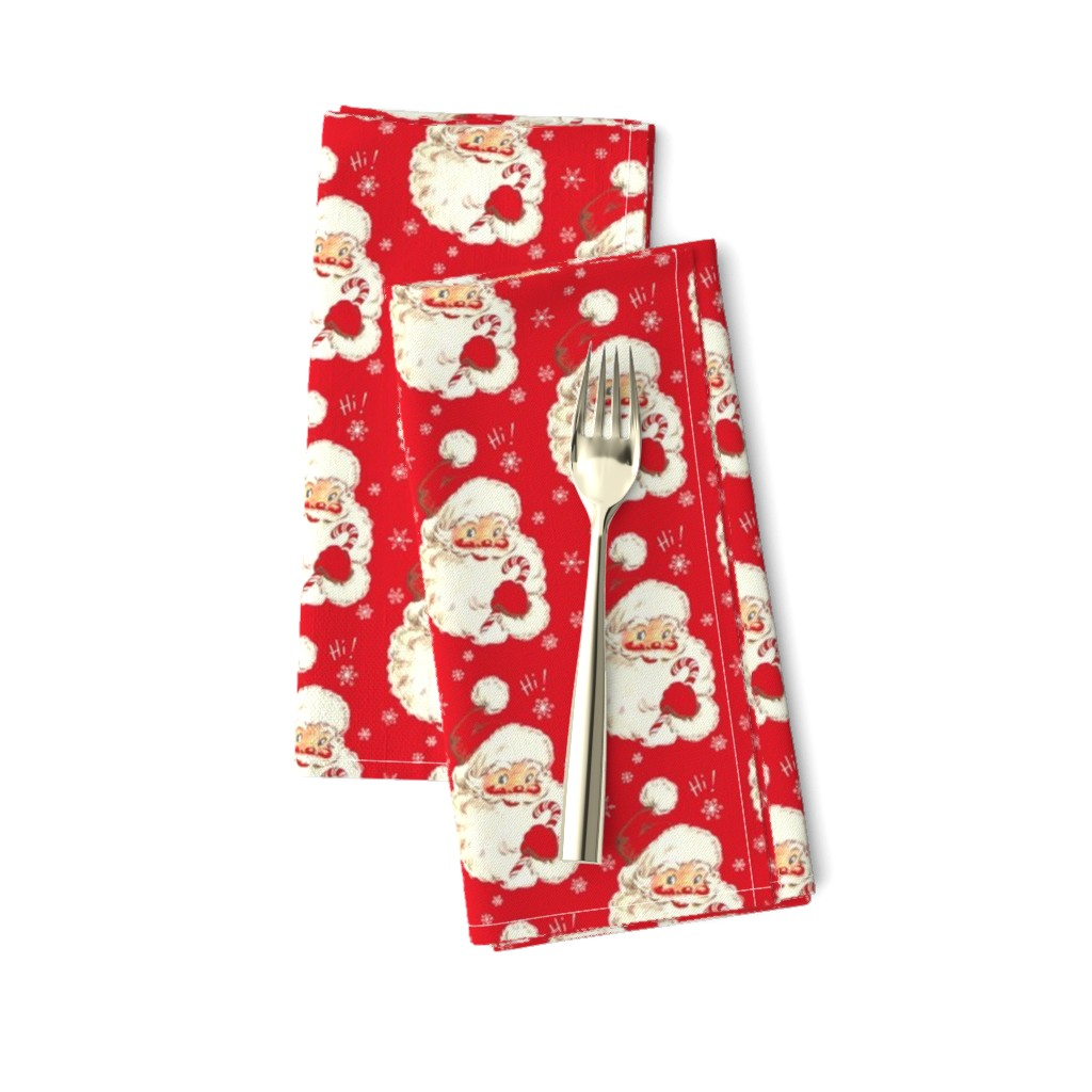 Amarela Dinner Napkins featuring Hi Santa! Christmas real red Vintage size med by parisbebe