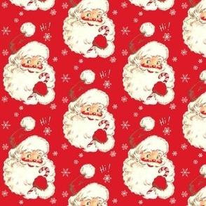 Hi Santa! Christmas real red Vintage size med