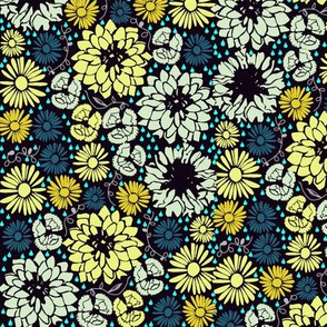Ditsy flowers (yellow and blue)