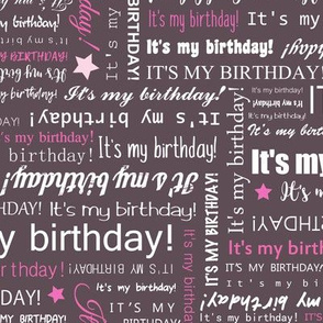 It's my Birthday word art - Hot Pink typography