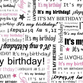 It's my Birthday typography text pattern - Black & Pink