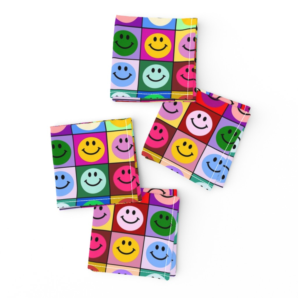 Frizzle Cocktail Napkins featuring Colorful Happy Smiley face Squares (large print) by inspirationz