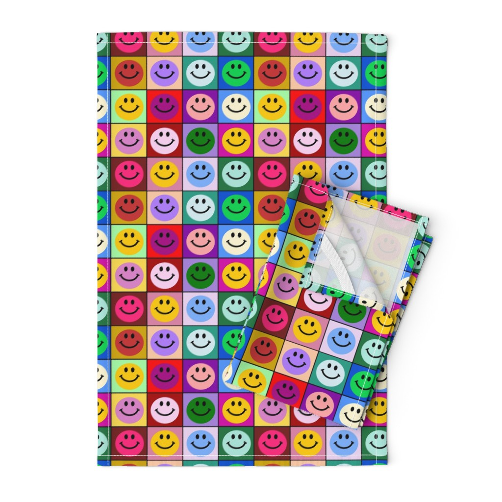 Orpington Tea Towels featuring Colorful Happy Smiley face Squares (large print) by inspirationz