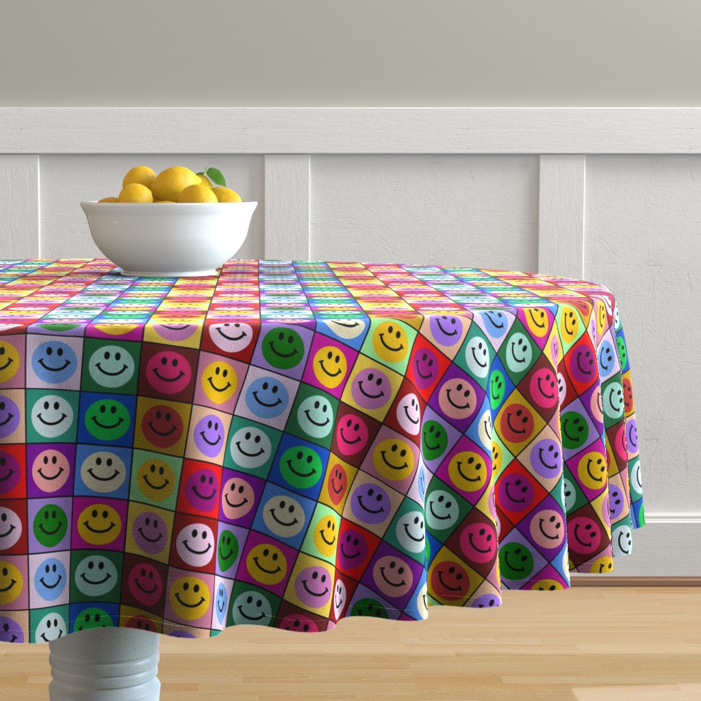 Malay Round Tablecloth featuring Colorful Happy Smiley face Squares (large print) by inspirationz