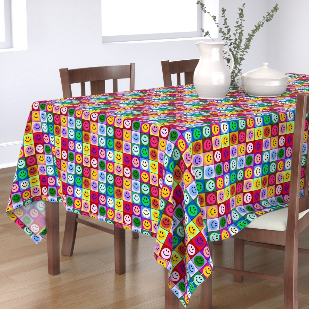 Bantam Rectangular Tablecloth featuring Colorful Happy Smiley face Squares (large print) by inspirationz