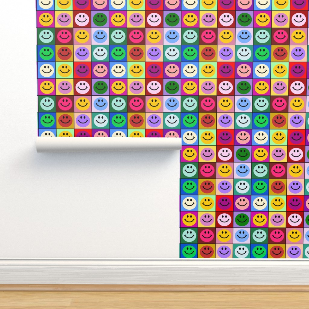 Isobar Durable Wallpaper featuring Colorful Happy Smiley face Squares (large print) by inspirationz
