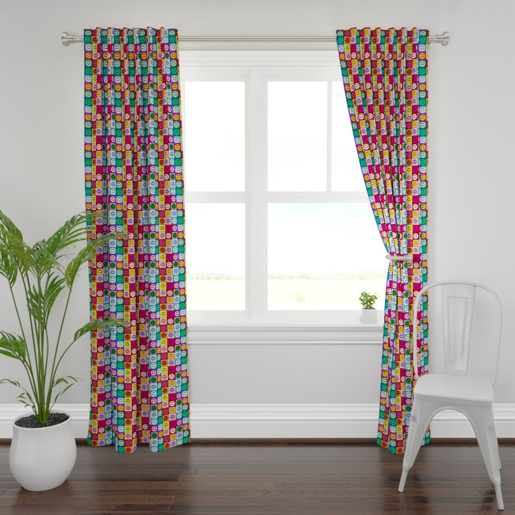Plymouth Curtain Panel featuring Colorful Happy Smiley face Squares (large print) by inspirationz