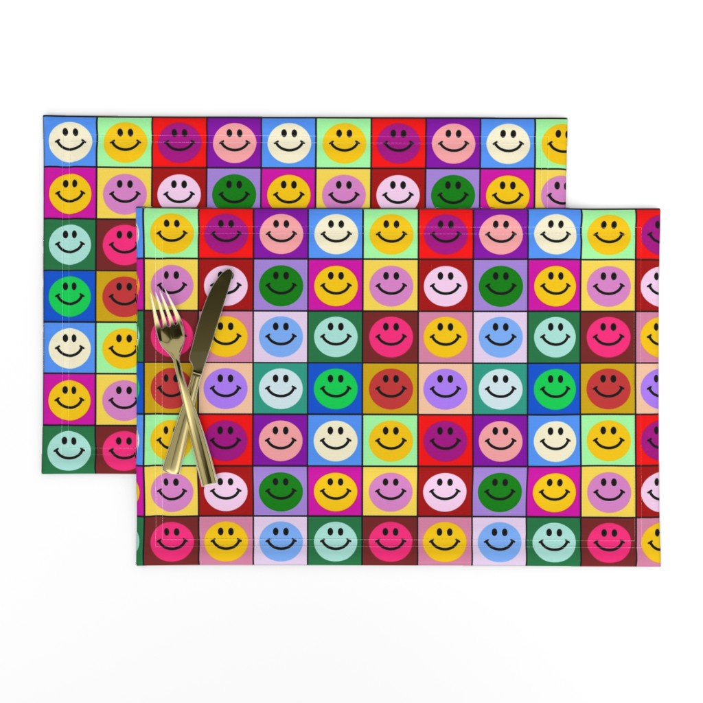 Lamona Cloth Placemats featuring Colorful Happy Smiley face Squares (large print) by inspirationz