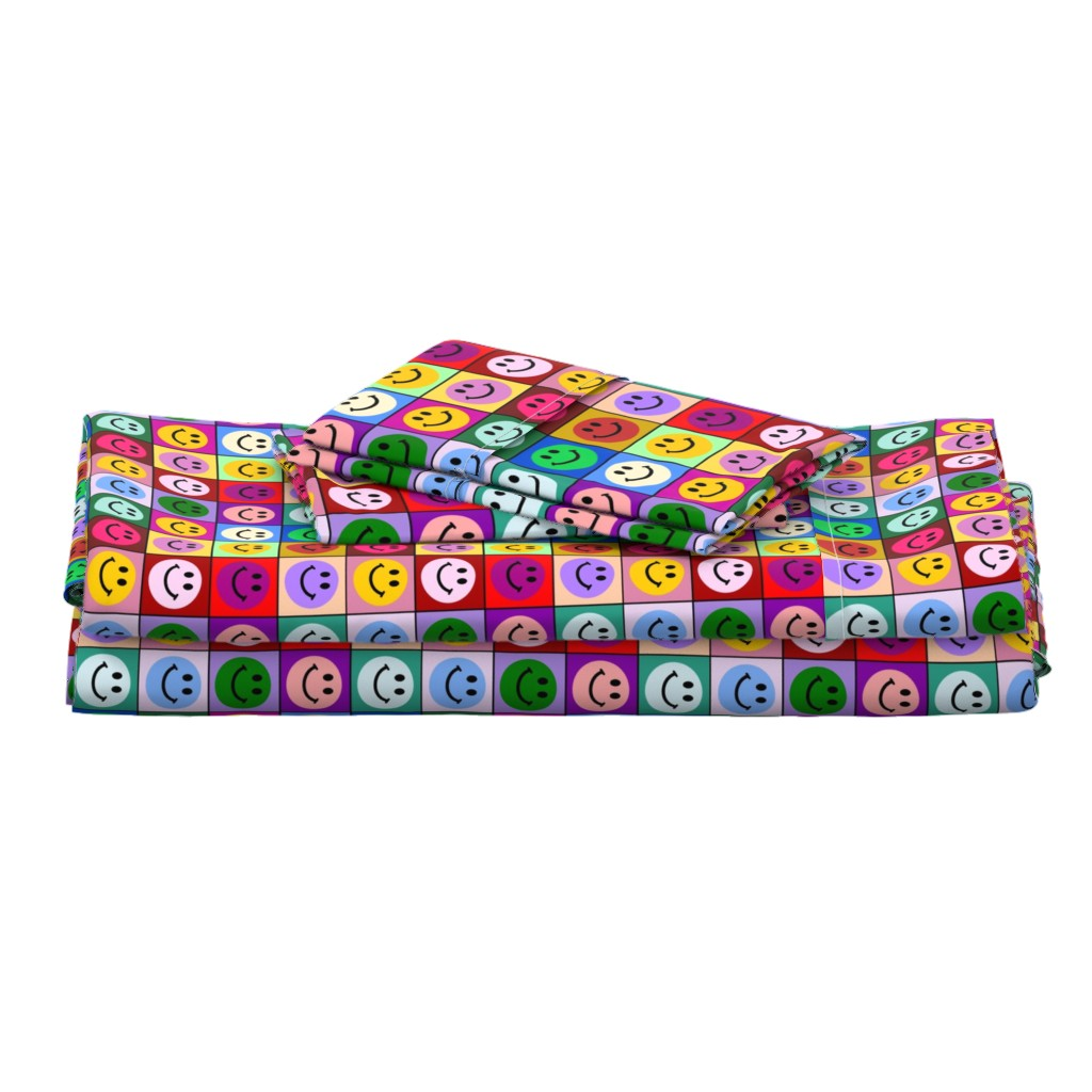 Langshan Full Bed Set featuring Colorful Happy Smiley face Squares (large print) by inspirationz