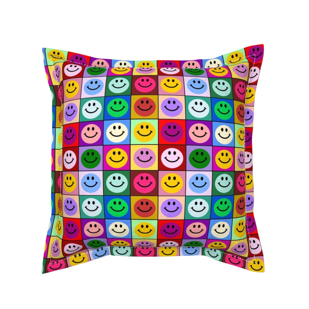 Serama Throw Pillow featuring Colorful Happy Smiley face Squares (large print) by inspirationz