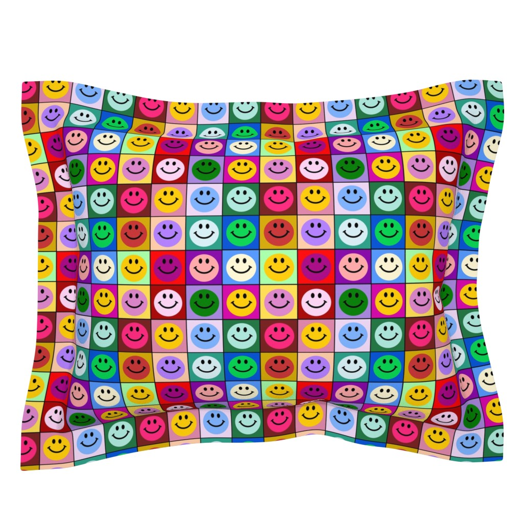 Sebright Pillow Sham featuring Colorful Happy Smiley face Squares (large print) by inspirationz