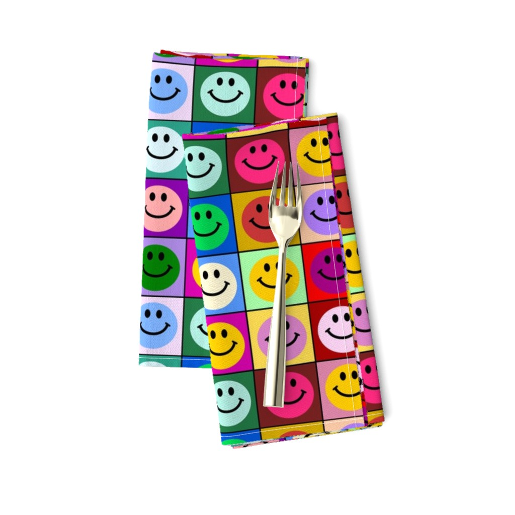 Amarela Dinner Napkins featuring Colorful Happy Smiley face Squares (large print) by inspirationz