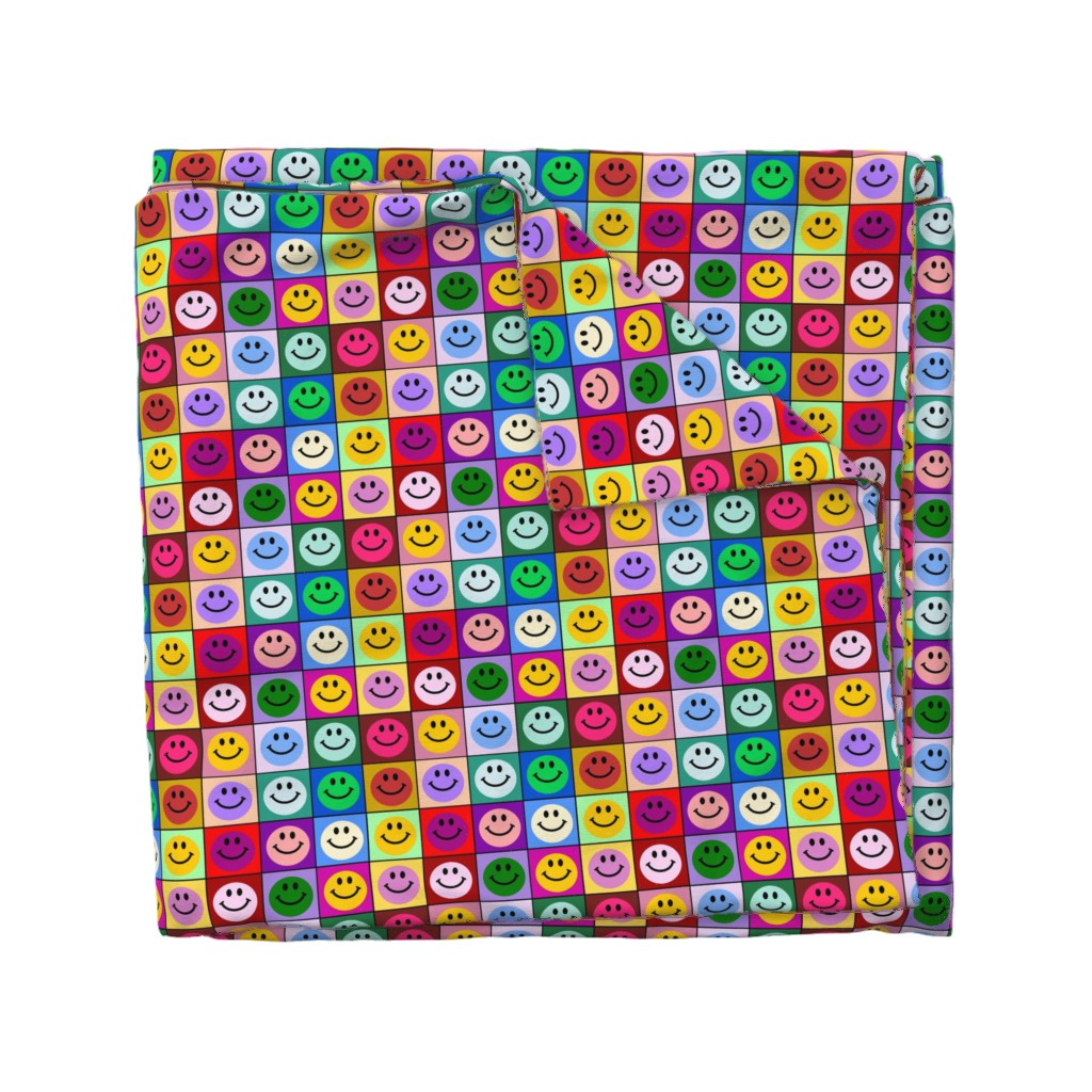 Wyandotte Duvet Cover featuring Colorful Happy Smiley face Squares (large print) by inspirationz