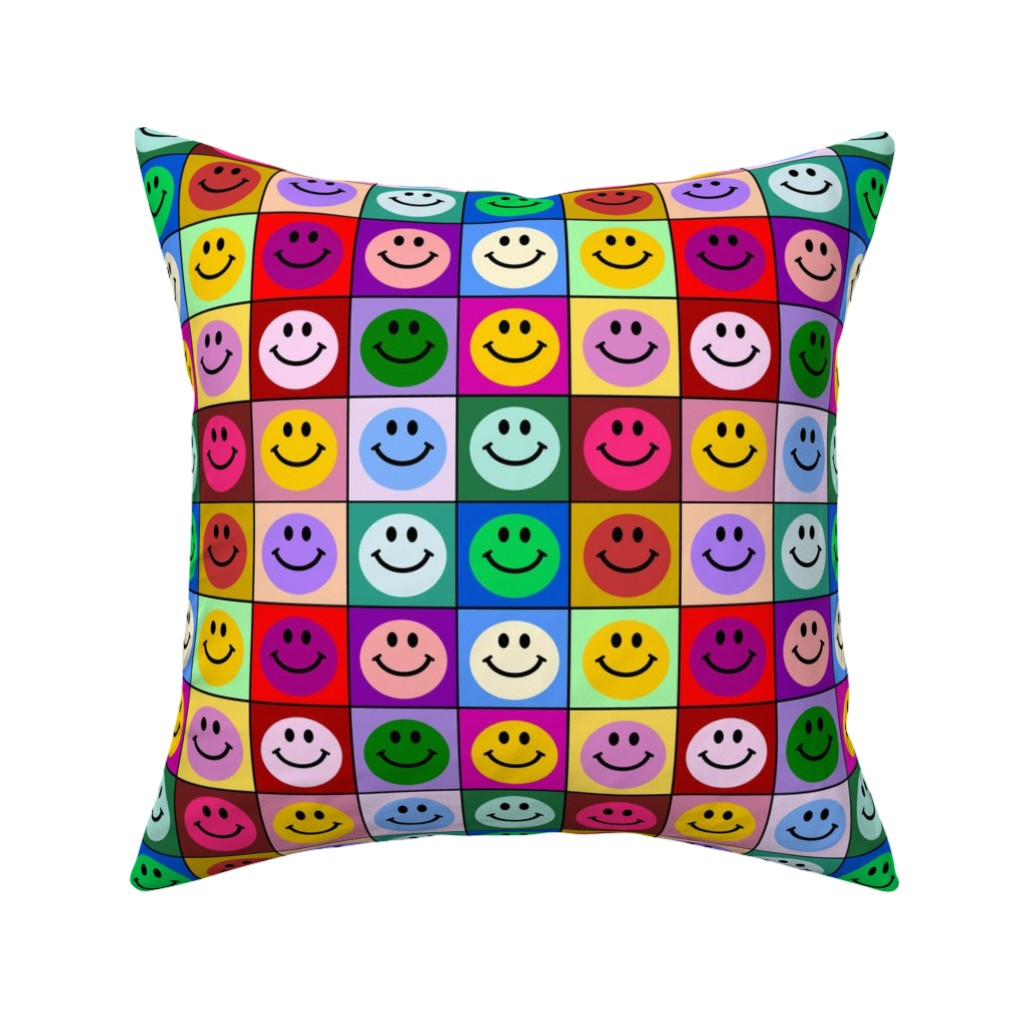 Catalan Throw Pillow featuring Colorful Happy Smiley face Squares (large print) by inspirationz