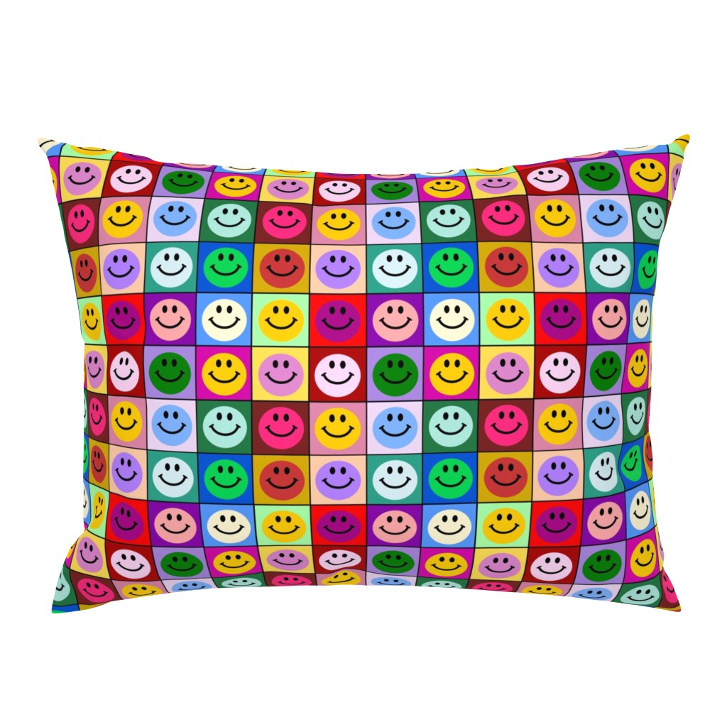 Campine Pillow Sham featuring Colorful Happy Smiley face Squares (large print) by inspirationz