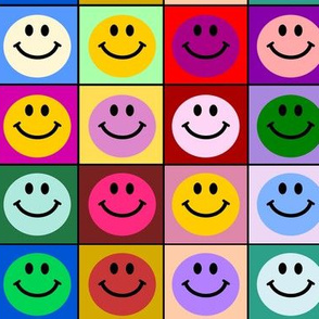 Colorful Happy Smiley face Squares (large print)