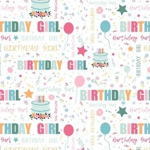 Birthday Girl pattern with cake, balloons & party confetti
