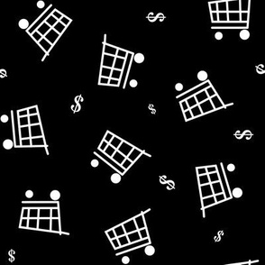 Grocery Carts & Money tossed on black