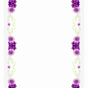 "16""  2 Runners Violets and Roses Shell border"